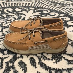 Auth Sperry Top Sider leather boat shoes boys 3.5